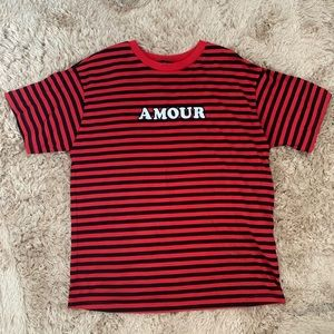 "Black and red stripped ""Amour"" t-shirt"